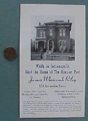 1940s Indianapolis Indiana Poet James Whitcomb Riley Lockerbie Square Home card!