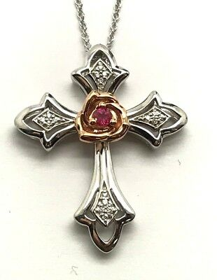 Silver / 10K Rose Gold Rose Red Ruby - CZ Antique Style Religious Cross Necklace