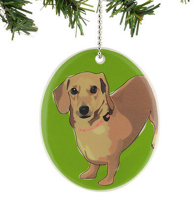 * GO DOG by PAPER RUSSELL Hanging Ornament DACHSHUND Weiner Puppy Green Stone