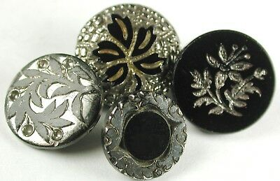 4 Antique Black Glass Buttons Flower Designs w/ Silver Luster 9/16 to 11/16""