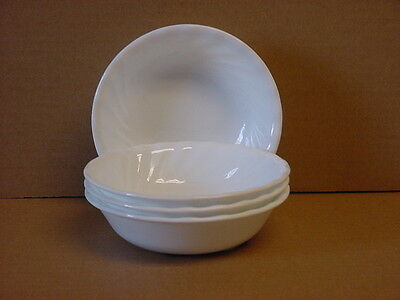 "4 Corelle Enhancements 10-oz Dessert Bowls 5-3/8"" (White Swirl) New Made in USA"