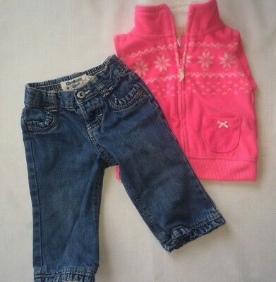 Baby Girl 9 Month Lot Oshkosh Jeans and Carter's Pink Snowflake Fleece Vest 2pc