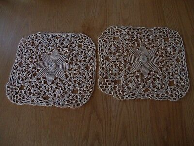 Vintage Lot Of 2 Vintage Antique Square Doilies Tea Stain Flowers Floral Estate