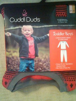 Nwt $24 Toddler Boys Cuddl Duds 2-Pc Thermal Set Red With Bears Top Bottom 2T-3T