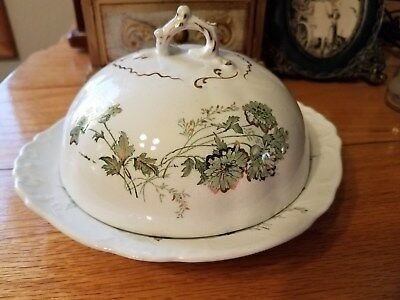 Alfred Meakin Clifton MESSINA GREEN Covered Round Butter Dish Green w. Metallic