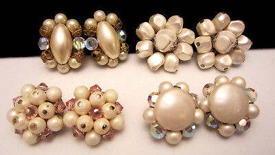 """Wow Classic 50's Vintage 1"""" Clip On Crystal Cluster Earrings Lot - 4 Pairs A23"""