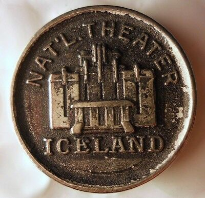 1944 ca ICELAND NATIONAL THEATER Coin - Very Unusual Type - Lot #J16