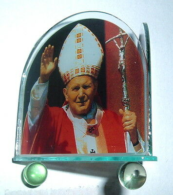 Pope JOHN PAUL II & Pope BENEDICT XVI Votive Holder NEW 3 sided Papacy Vatican