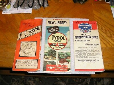 vintage 1940s Tydol/ Flying A  Road Map of NEW JERSEY and a couple other maps