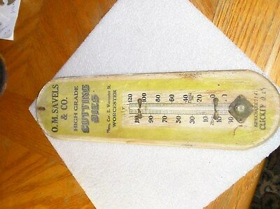 Vintage Machine Shop Wood Advertising Thermometer -O.M.SAVELS CUTTING DIES