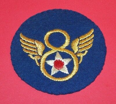 ORIGINAL FELT WW2 BRITISH MADE 8th AIR FORCE PATCH, STUBBY WINGS, OFF UNIFORM