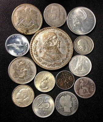 Vintage WORLD Silver Coin Lot - 1837-1968 - 14 Silver Coins - Lot #J16