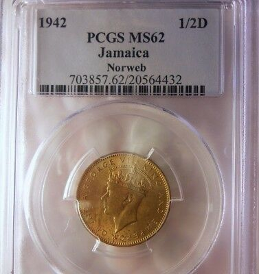 1942 JAMAICA FARTHING - PGCS MS62 - Great Coin - Lot #J16