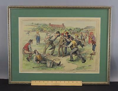 Antique 1885 New York, The Daily Graphic, Baseball Hand Colored Engraving NR