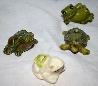 Estate Lot of (4) Pcs , Ceramic Frogs= 3 pc and one turtle candle Adorable LOOK