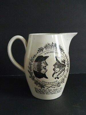 ANTIQUE ENGLISH CREAMWARE TRANSFERWARE PITCHER - Late 18th Century
