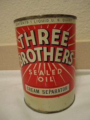 Old Three Brothers One Quart Cream Separator Sealed Oil Full Oil Can
