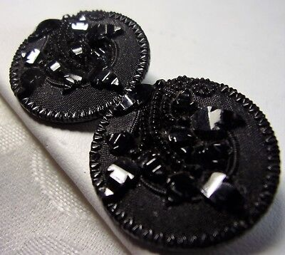 Antique Victorian Carved Black Glass Flower Tulip Button Set-2 Beautiful Buttons