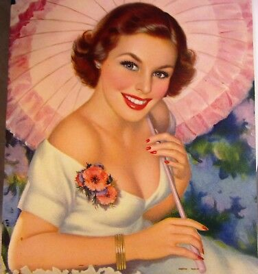 "Vintage 1940s Colored ""Lovely as a Melody"" Calendar Print Lady by D'Ancone"