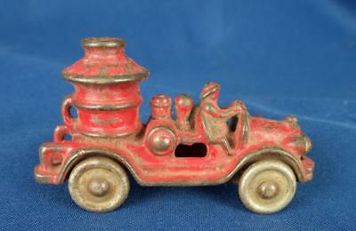 Antique Little Red Cast Iron Fire Engine Toy