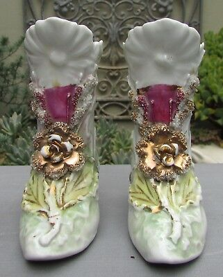 Stunning Pair Victorian Continental Porcelain Boots Shoes