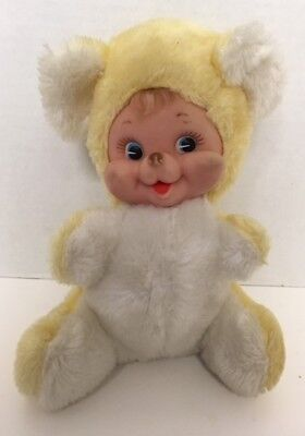 "Vintage Rushton BABY BEAR 9"" Plush Doll Rubber Face Yellow White 1950s Stuffed"