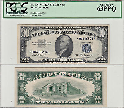1953-A* $10 Silver Certificate Star Note PCGS Choice New-63 PPQ