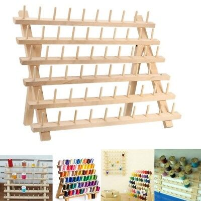 120 Spools Cone Holder Thread Wall Mount Rack Wood Sewing