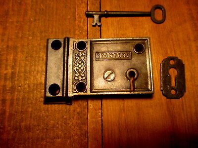 Old 1870 Ornate Iron Rim Lock Door Dead Bolt Hardware Branford Lock Works w/Key