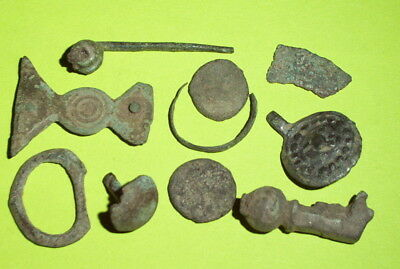 Ancient ROMAN ARTIFACT COLLECTION coin jewelry fibula lot antique silver pendant