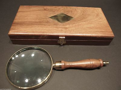 "4"" 5x Antique Style Magnifying Glass Brass w Wood Turned Hand Lens Desktop Box"
