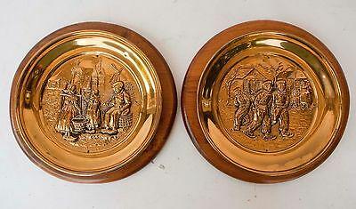 """PAIR of Vintage DUTCH Scene Copper Brass Wood Backed Hanging Plate England 12"""""""