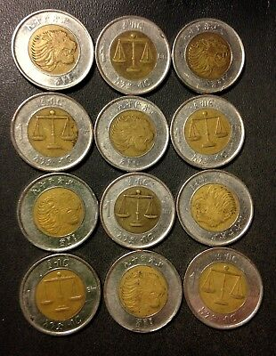 Old ETHIOPIA Coin Lot - Exotic Hard to Find Bi-Metal - 12 Coins - FREE SHIPPING