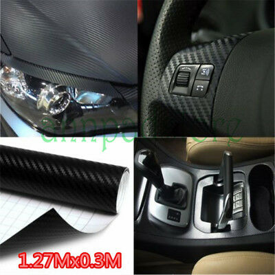 New Premium 3D Gloss Carbon Fiber Vinyl Wrap Bubble Free Air Release 127*0.3M