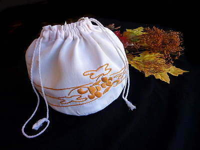 Vintage 1930s Arts and Crafts Embroidered Linen Draw-String Bag Pouch  #2