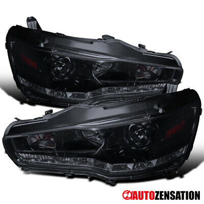 For 2008-2015 Mitsubishi Lancer EVO X 10 Glossy Black Smoke Projector Headlights
