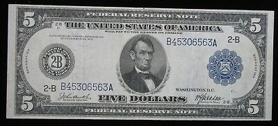 1914 $5 Blue Seal Large Size Federal Reserve Note New York NY * US Paper Money *