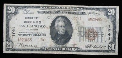 1929 $20 Brown Seal Small Size National Currency San Francisco CA US Paper Money