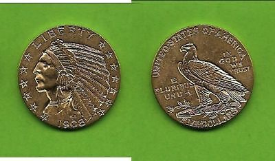 5 $ USA Indian Head Indianer Gold 1908