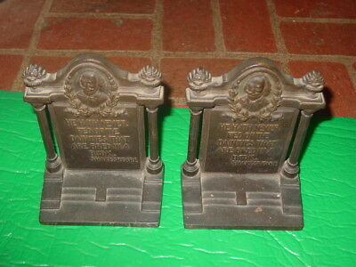 Antique Arts & Crafts B&h Bradley & Hubbard Bronzed  Bookends