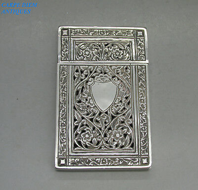 ANTIQUE INDIAN ORNATE HAND WORKED SOLID SILVER CARD CASE, 86g, KASHMIR c1890
