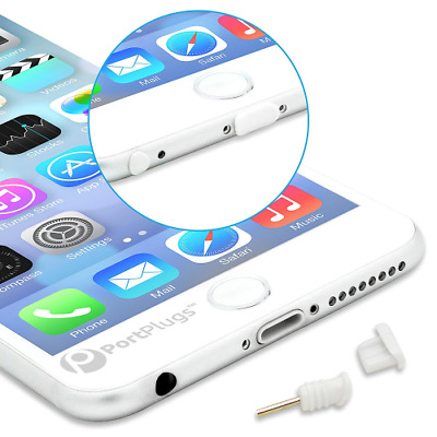 PortPlugs Dust Set for iPhone 6, 6s, 6s - 5 Pair of Low Profile Anti Dust(White)