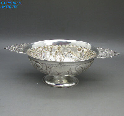 ANTIQUE DUTCH ORNATELY EMBOSSED SOLID SILVER BRANDY BOWL 72g SHEFF IMPORT 1899