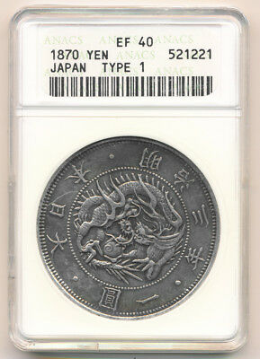 ## Scarce ## 1870 Japan Yen Type 1 (Anacs Xf40) See Hi-Res Images >> No Reserve