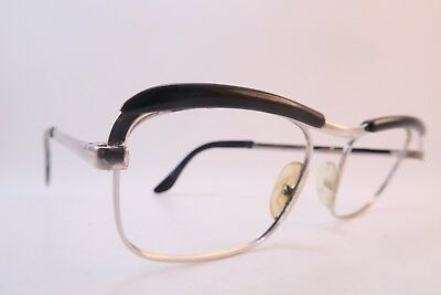 Vintage 60s eyeglasses frames white gold filled black brow PALACE Doublé Or L