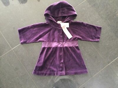 NWT Juicy Couture New & Gen. Girls Age 8 Purple Velour Hoody With Elbow Sleeves