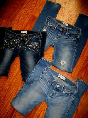 Abercrombie & Fitch Kids Girl's Jeans Skinny Lot of 3 Pairs Size 12 Nice Jeans!