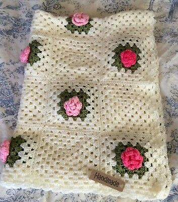 Crochet  Baby Blanket  shabby chic granny squares cream with pink roses. Large
