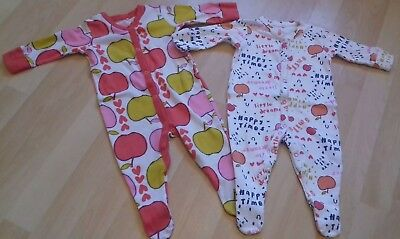 Trendy Next Baby Girls Apples & Quotes Design Babygrows Sleepsuits Set 3-6 mths