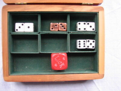 """Vintage """" His Ohio Caverns """" Cedar box with 4 Sets of Playing Dice ~ Mixed Lot"""